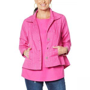 NWT DG2 by Diane Gilman Chambray Jacket Small Pink